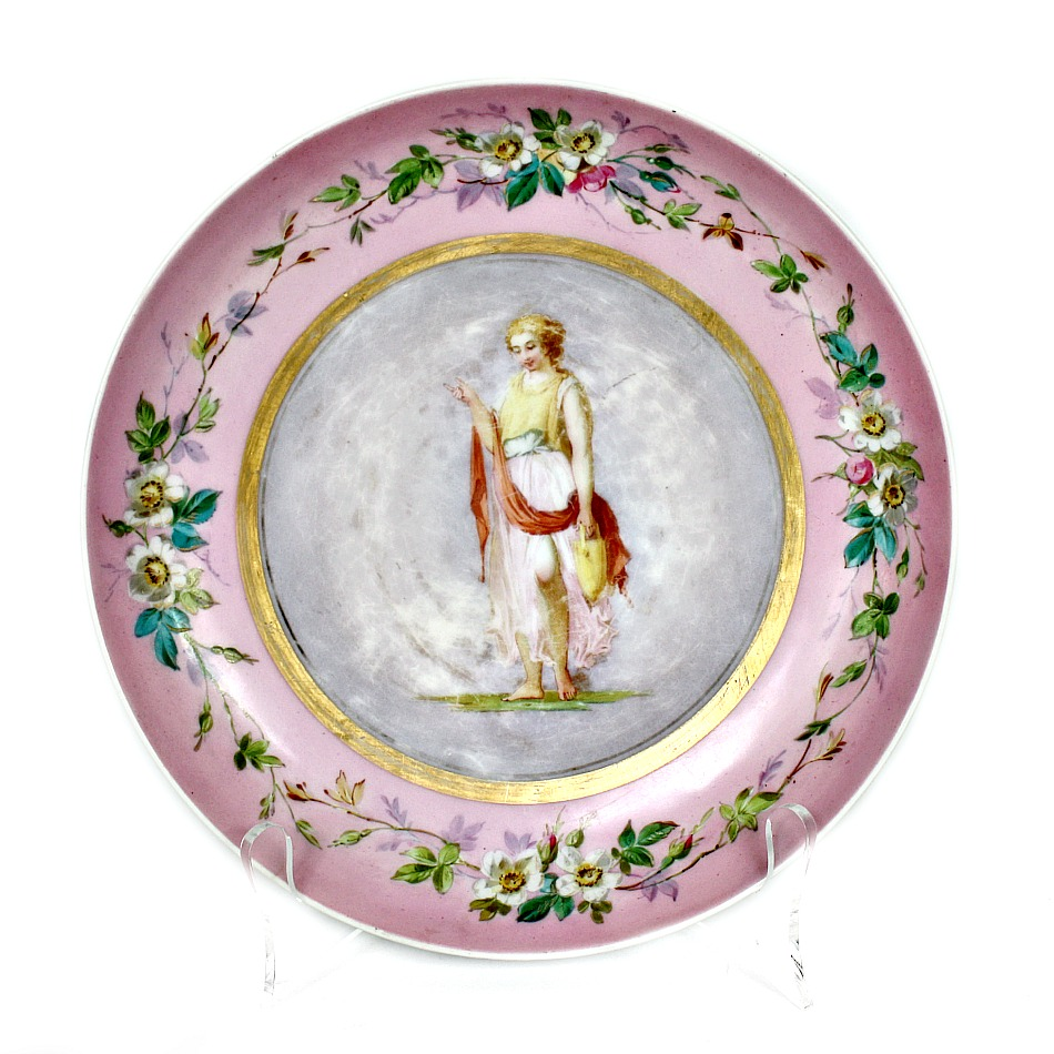 Antique Shabby Hand Painted Pink Lady Portrait Floral Plate