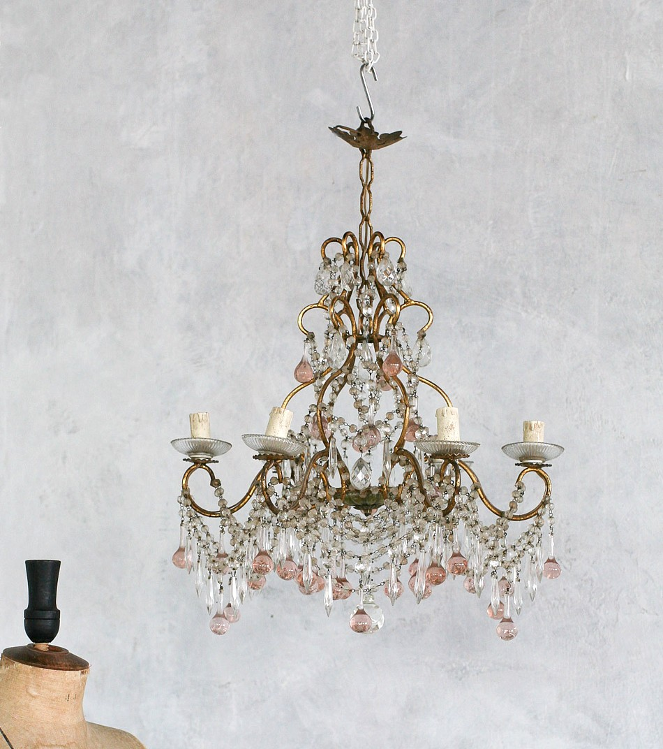 Exquisite Vintage Shabby PINK Crystals Chandelier Six Arm Crystals