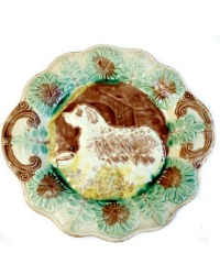 Antique Majolica Dog and House Platter Arsenal