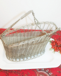Antique French Silver Plated Wine Pouring Basket