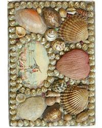 19th Century Shell Art Sewing Box Heart Pincushion