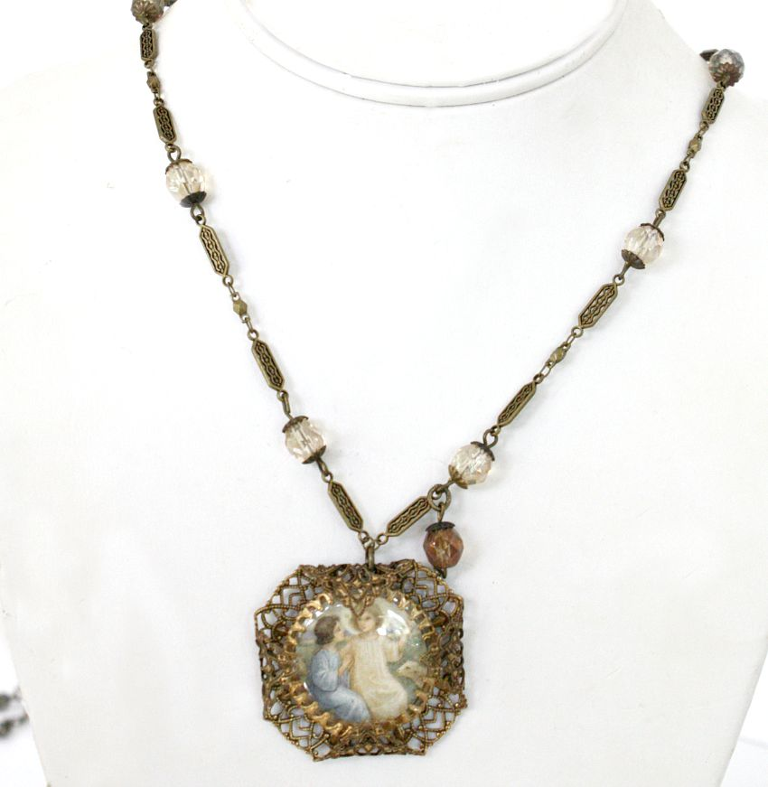 Sacred Jewels Collection Antique Holy Card Necklace