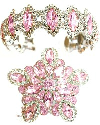 Spectacular Signed Weiss Pink Brooch & Cuff Bracelet Demi Parure Set