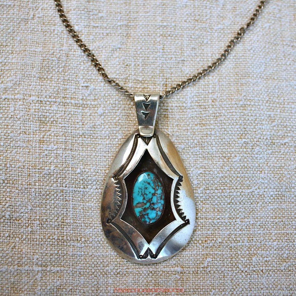 Vintage Sterling Navajo Turquoise Pendant Necklace Aaron Chischiligi