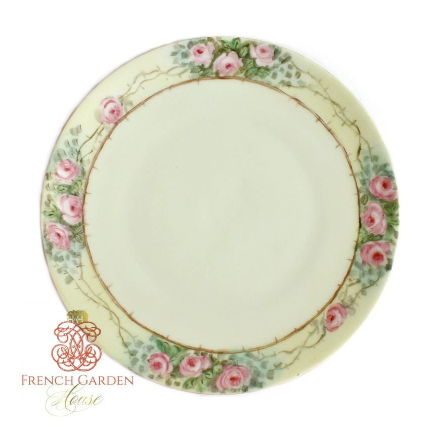Antique Hand Painted Silesia Pink Roses Plate