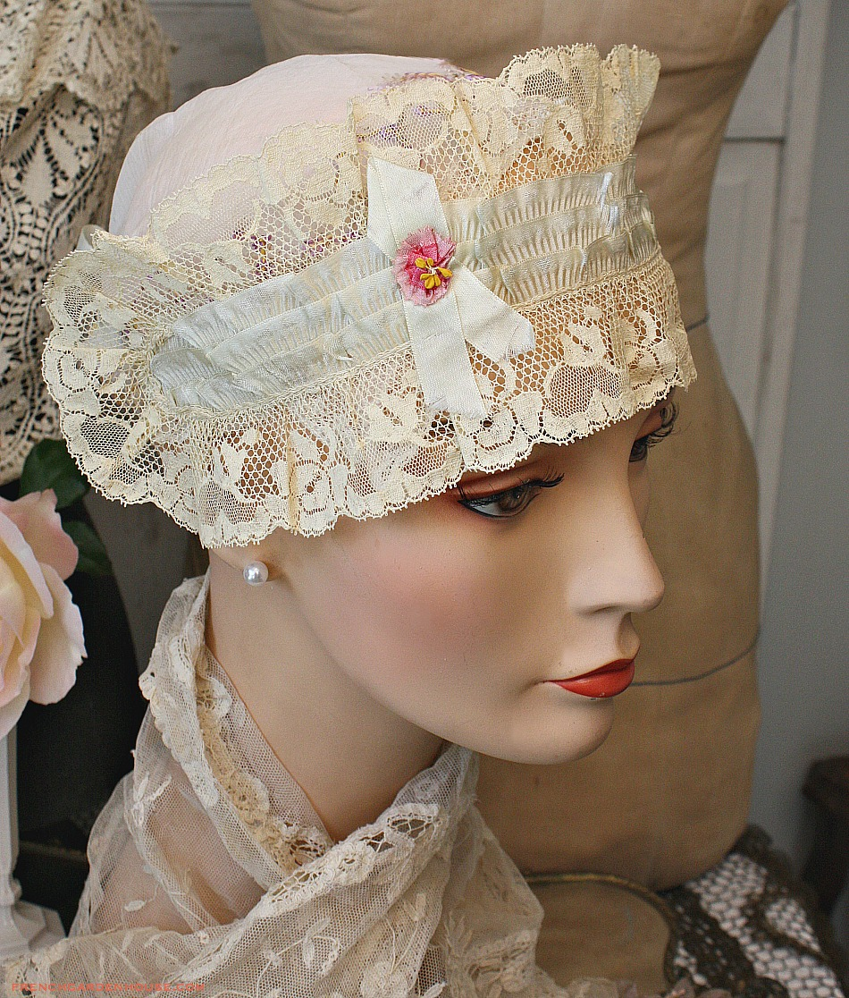 Antique French Silk Lace Ribbonwork Rosette Bandeau