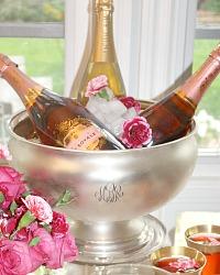 Vintage Monogrammed Silver Plated Champagne Cooler