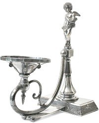 Antique Cherub Quadruple Silver Figural Cupid Bowl Stand