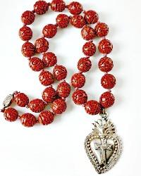 Cinnabar Ex Voto Necklace by Designer Georgia Hecht