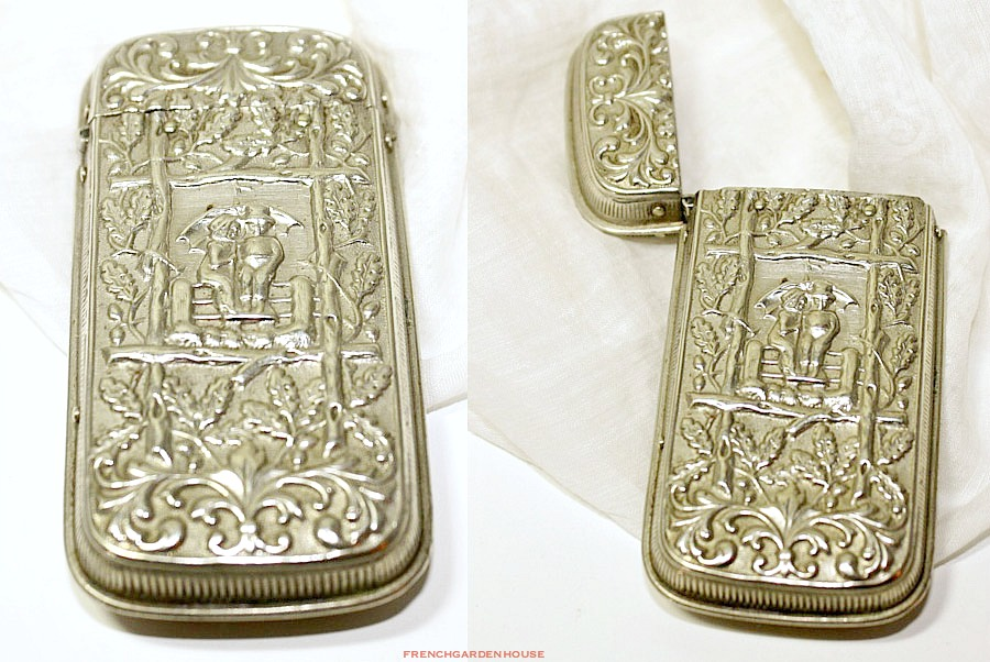 Antique Art Nouveau Figural Silver Pocket Match Safe Vesta Case Holder