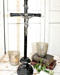 Antique French Large Mid 1800's Ebonised Wood Crucifix Souvenir
