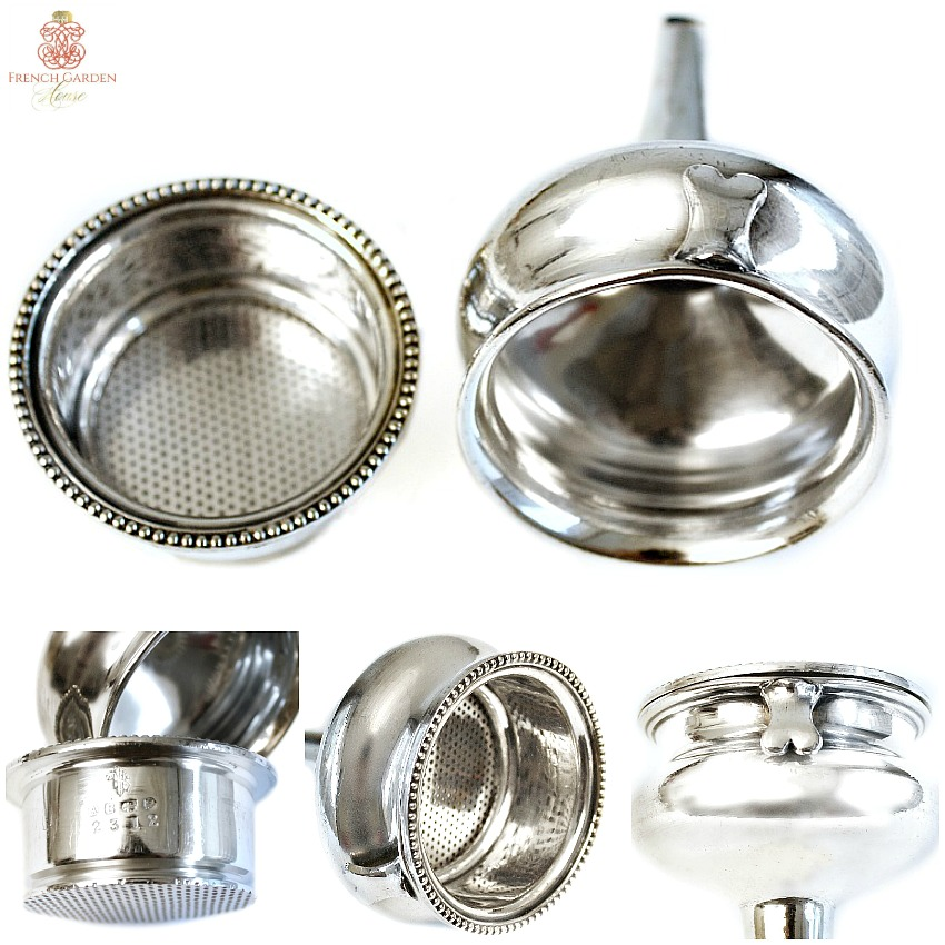 English Silver Plate Wine Funnel & Filter Atkin Bros.