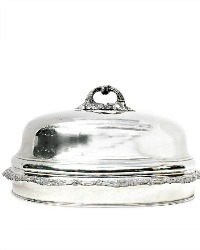 Large Antique Silver Plate Food Dome Cover Floral