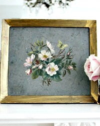19th Century Antique Wild Rose Oil Painting Gilt Wood Frame