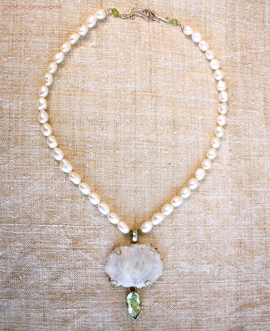 Snow Agate and Green Amethyst Nature's Grace Sterling Necklace