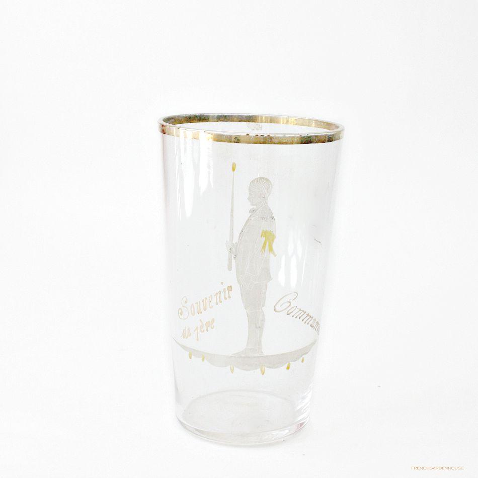 Antique French Souvenir de 1st Communion Hand Painted Glass