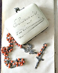 Antique French Celluloid Child's First Communion Souvenir Purse and Rosary