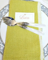 French Country Chartreuse Green Linen Napkins Set of 4