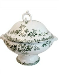 French Large Footed St. Amand Tureen Green Floral