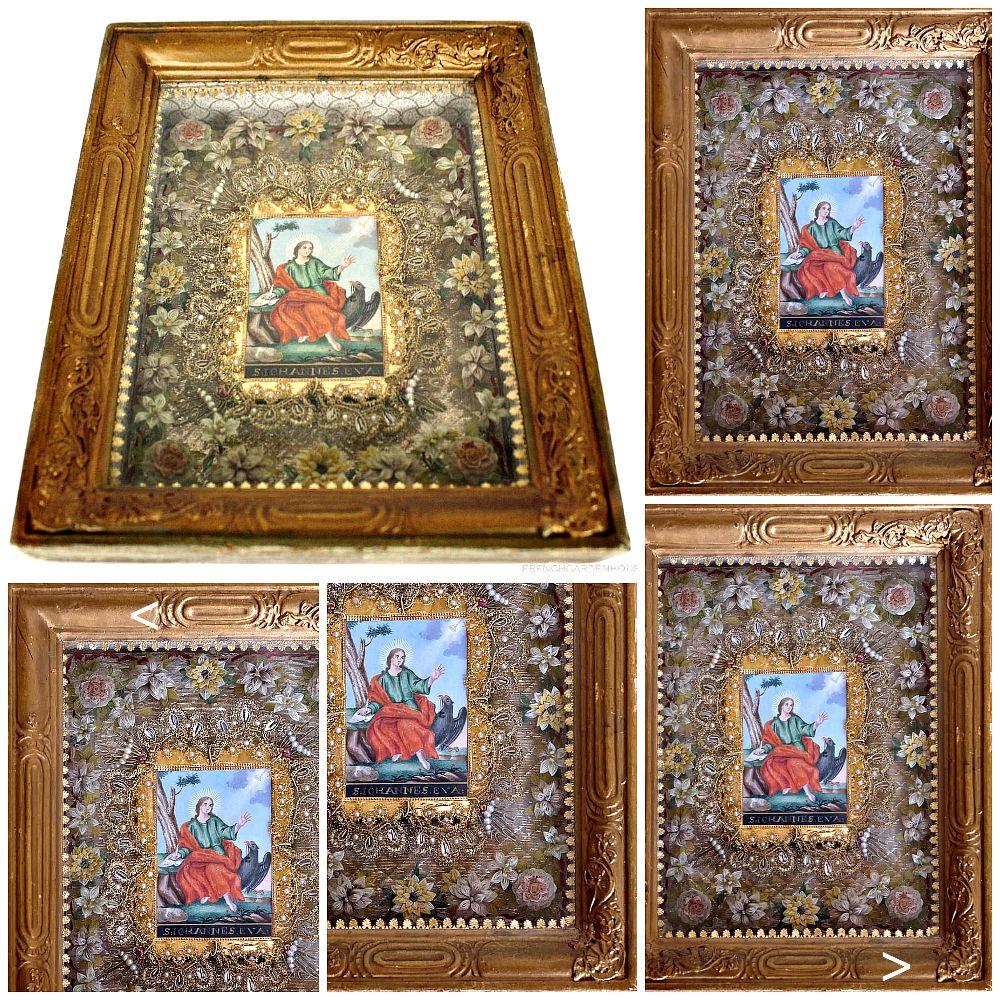 Antique 18th Century Devotional Paperolle Framed Reliquary Ex Voto