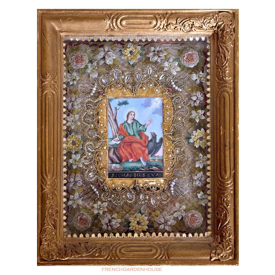 Antique 19th Century Devotional Paperolle Monastery or Cloister Framed  Reliquary Metallic Flowers