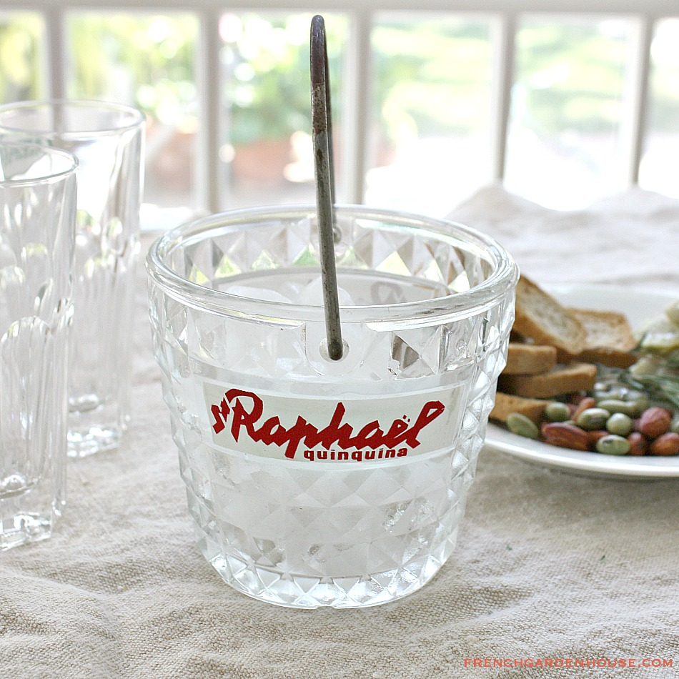 Vintage French Advertising Glass Ice Bucket St. Raphael Quinquina Aperitif