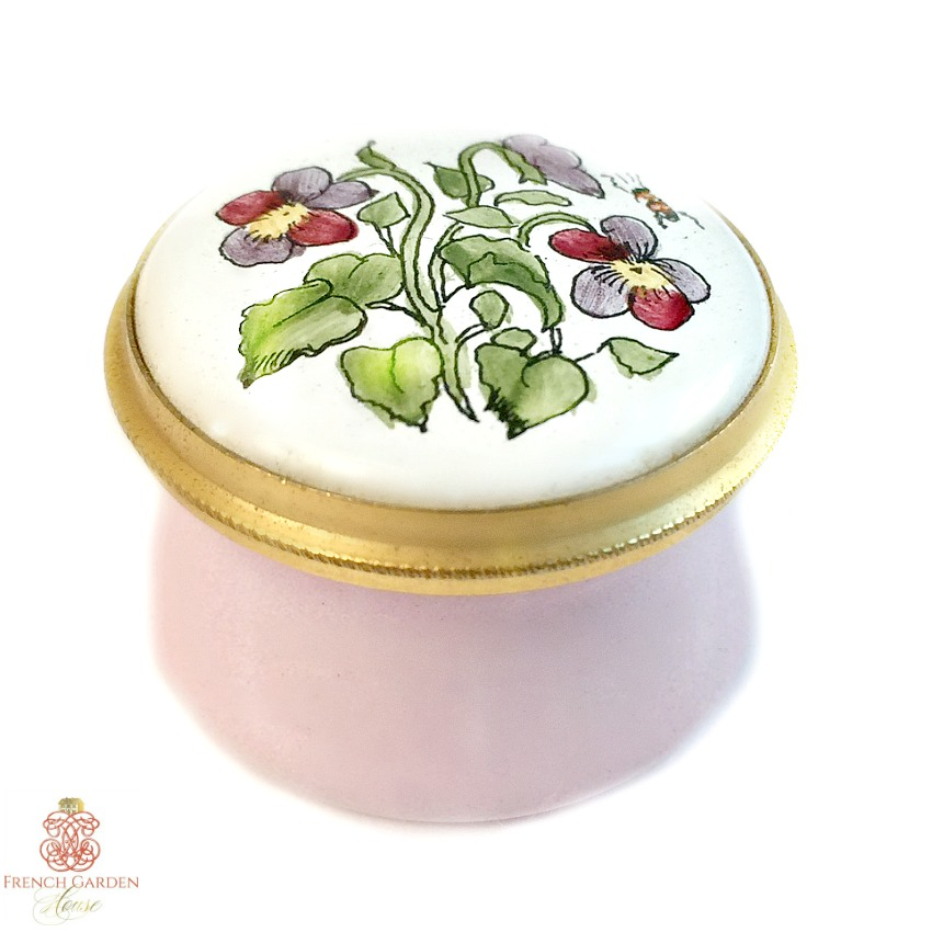 Vintage Hand Painted Enamel Keepsake Box Pink Violets