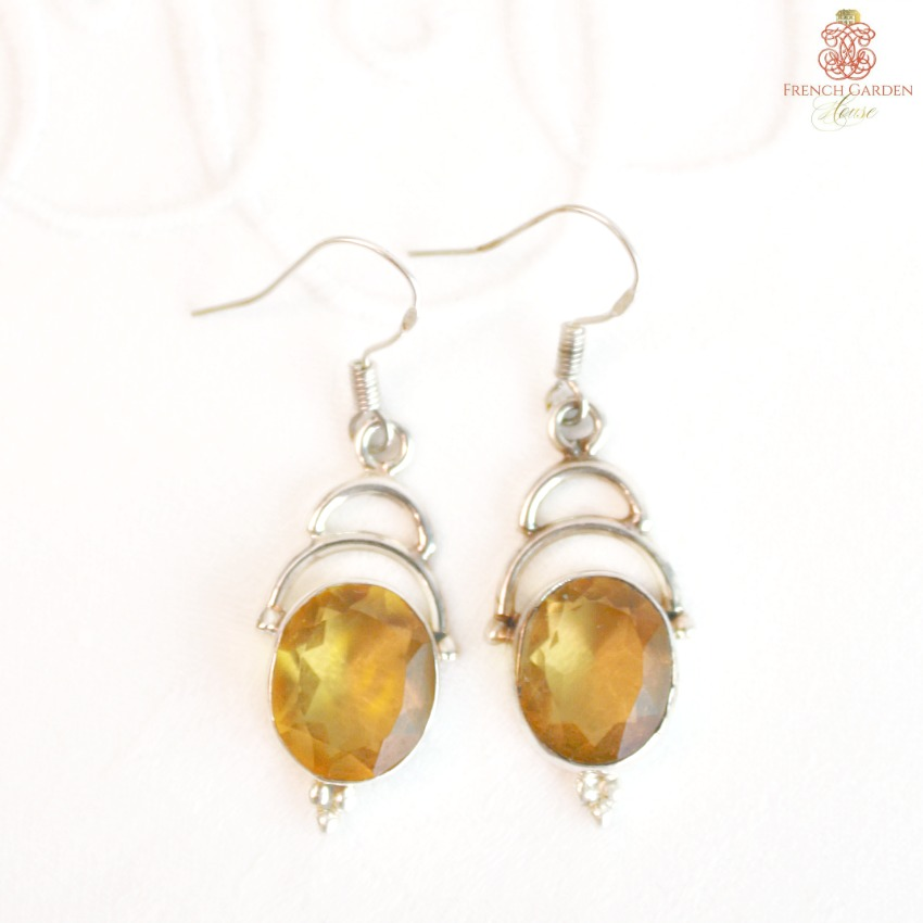 Faceted Citrine Gemstone and Sterling Silver Earrings