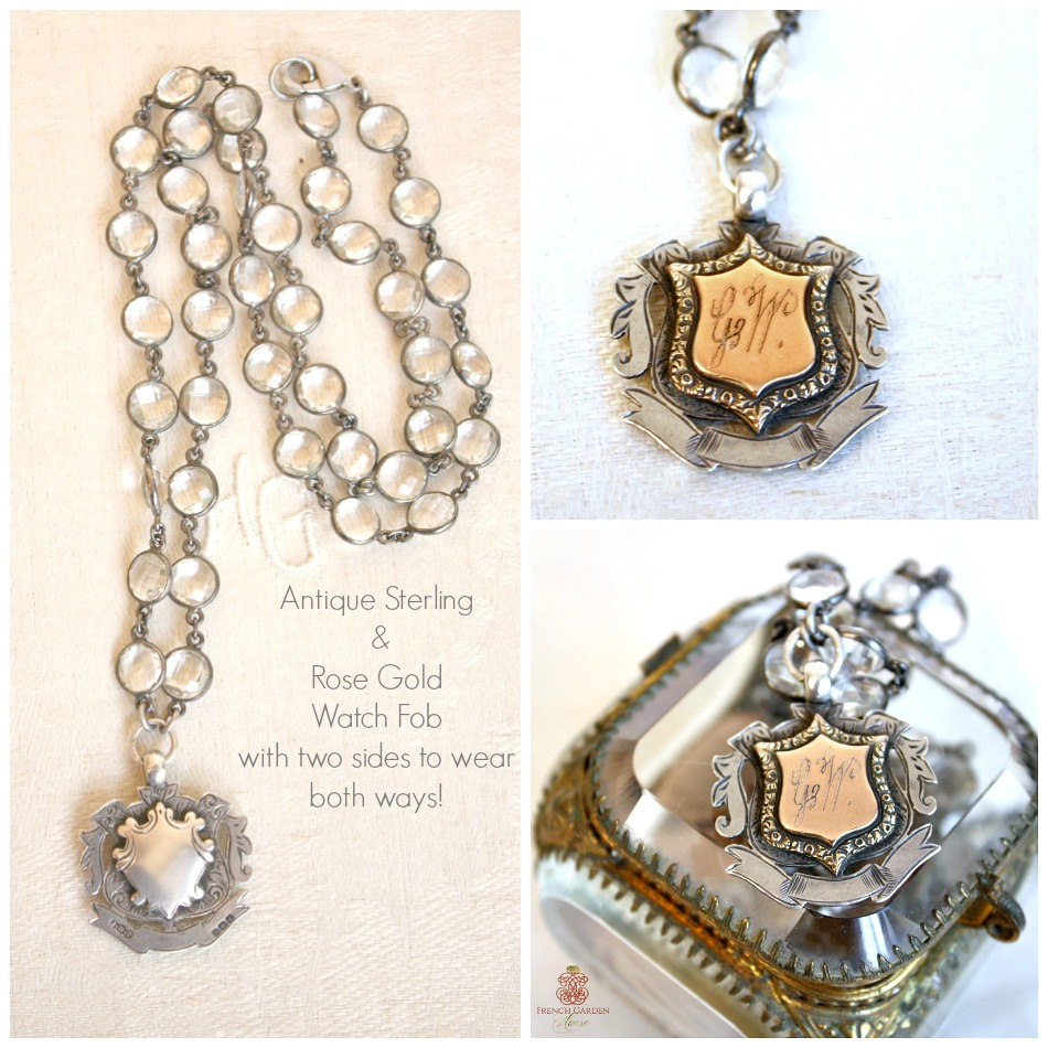 Georgia Hecht Antique Sterling & Rose Gold Award Watch Fob Necklace