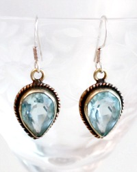 Blue Topaz and Sterling Silver Teardrop Earrings