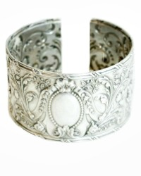 Exceptional KDL Antique French Sterling Silver Bows Cuff Bracelet