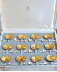 Estate Luxury Silver Vermeil Shell Salt Cellars and Spoon Set for 12