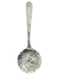 Sterling Silver Kirk Repousse Floral Berry Serving Spoon