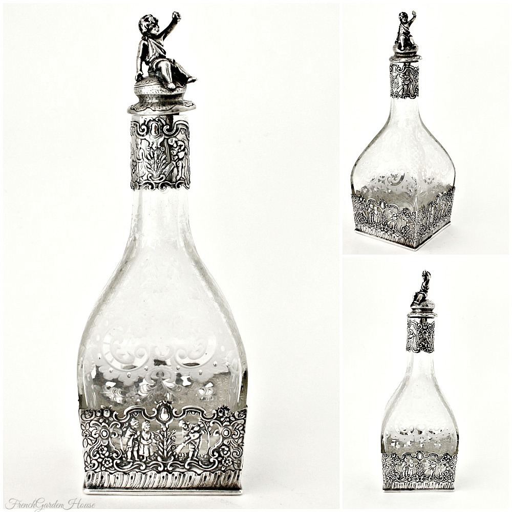 Antique Sterling Silver Overlay Collar Etched Cut Glass Decanter