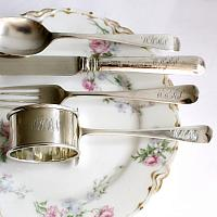 English Sterling Silver Child's Cased Christening Set