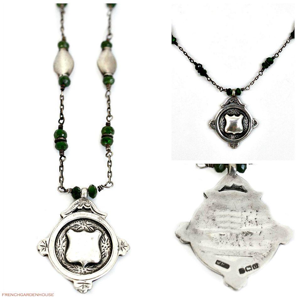 Antique Estate Heirloom Sterling Award Fob Necklace Green