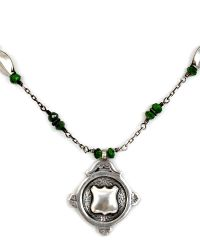 Antique Estate Heirloom Sterling Award Fob Necklace Green