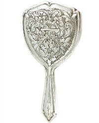 Antique Continental Silver Floral Engraved Doll Mirror