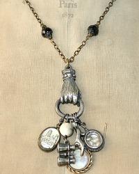 Antique Sterling Silver Parisian Souvenir Charms Necklace