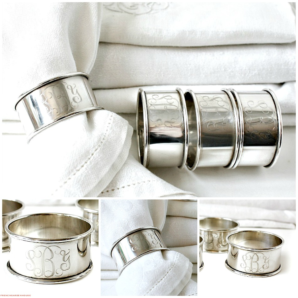 Reed and Barton Sterling Silver Monogrammed Napkin Rings Set of 4