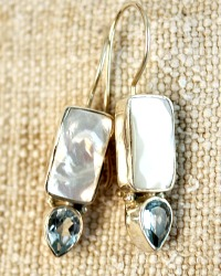 Natural Topaz and Mother of Pearl Sterling Earrings
