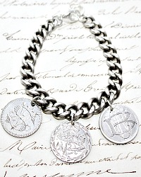 KDL Antique Sterling Love Token Charm Bracelet