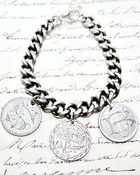 KDL Antique Sterling Love Token Charm Bracelet