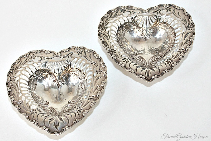 Sterling Silver Footed Repouse Heart Shaped Monogram Bonbon Dish