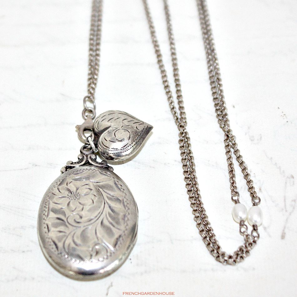 Antique Sterling Locket and Puffed Heart Necklace
