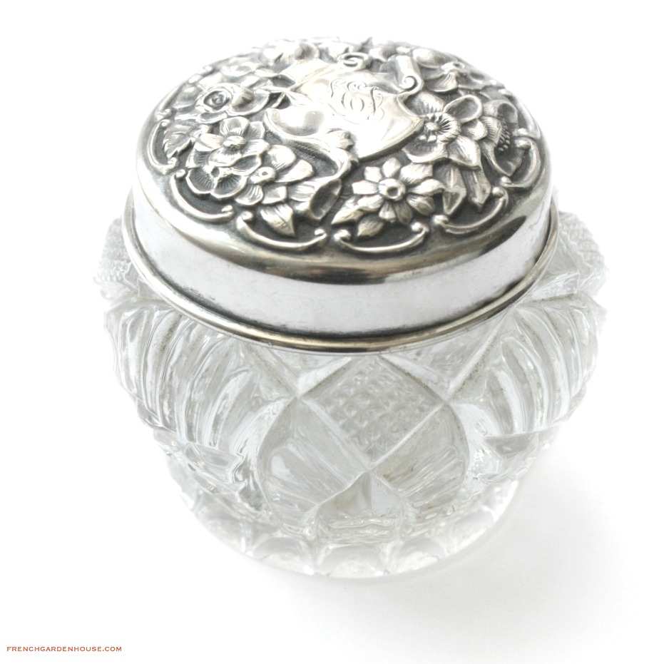 Antique Sterling Silver Repousse Rose Vanity Jar
