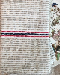 Antique Flax and Linen Towel Red Blue Stripe