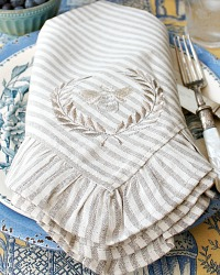 Luxurious Organic Linen Napoleonic Bee Ruffled Napkin Striped Set of 4