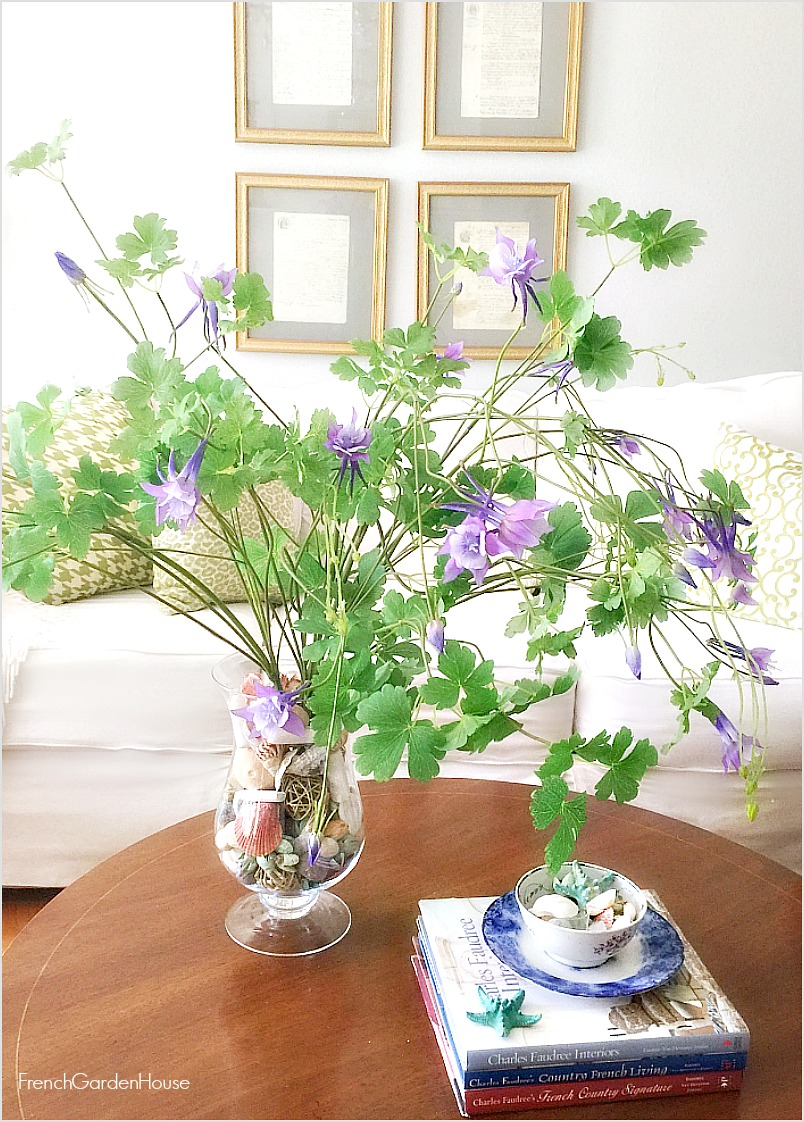 French Silk Blue Lavender Columbine Bouquet Set of 4