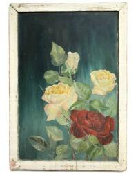 19th Century Original Sunday Oil Painting Roses